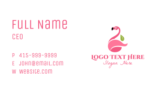Flamingo Bird  Mascot  Business Card