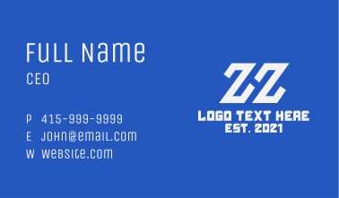 Online Gaming Letter ZHZ Business Card