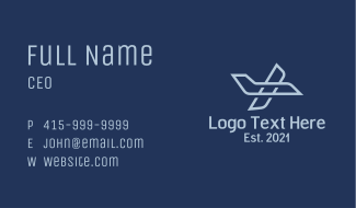Blue Aviation Plane Business Card