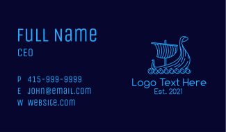 Monoline Viking Ship Business Card