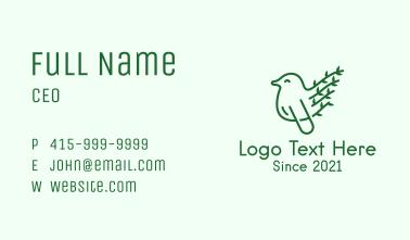 Green Leaf Bird Outline Business Card