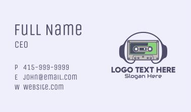 Retro Cassette Headphone Business Card