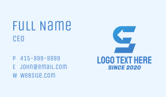 Blue Arrow Letter S Business Card