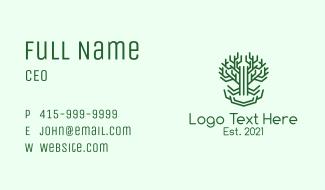 Symmetrical Green Tree Business Card