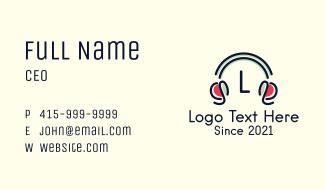 Minimalist Headphones Letter Business Card
