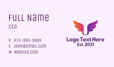 Gradient Wings  Letter U Business Card