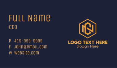 Gold Hexagon Letter N & C Business Card