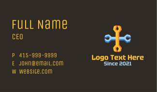 Isometric Cross Wrench Business Card