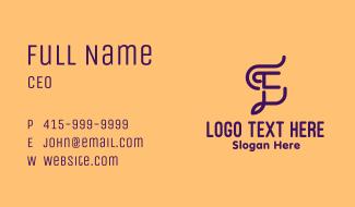 Curvy Creative Letter E Business Card