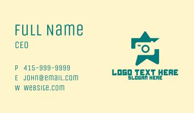 Green Camera Star  Business Card