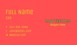 Comic Fun Playful Wordmark Business Card