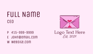 Romantic Envelope Hourglass Business Card