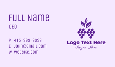 Purple Organic Grapes Business Card