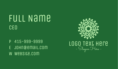 Green Ornamental Flower Business Card