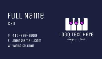 Champagne Piano Keyboard Business Card