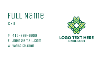 Green Floral Pattern Business Card