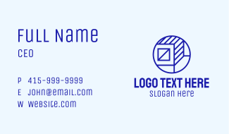 Blue Container Box Business Card
