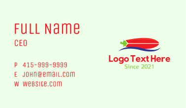 Chili Surfing Paddle Board Business Card