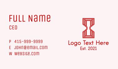 Red Geometric Hourglass  Business Card