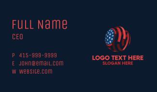 American Flag Sphere Business Card