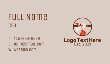 Chicken Barbecue Mascot  Business Card