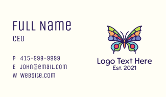 Colorful Butterfly Insect Business Card