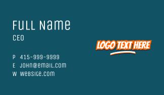 Cartoon Pop Art Wordmark Business Card