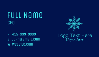 Blue Ice Snowflake Business Card