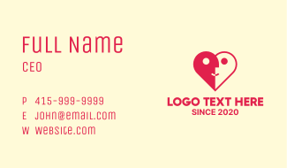 Dating Couple Heart Business Card