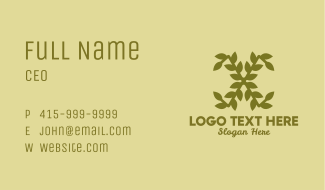 Gold Leafy Letter X Business Card
