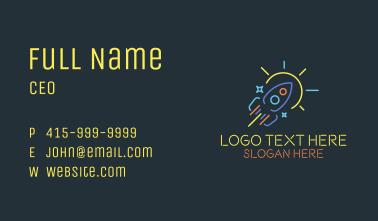 Neon Rocket Sun Monoline Business Card