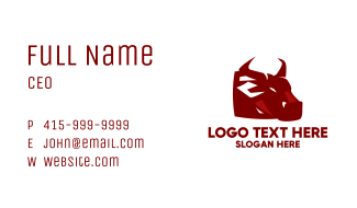 Angry Red Bull Mascot Business Card