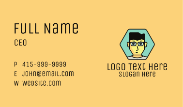 Boy Hexagon Badge Business Card