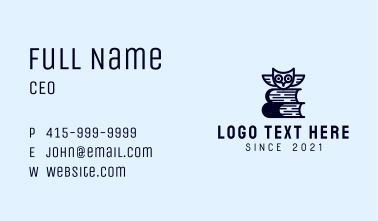 Owl Book Librarian Business Card