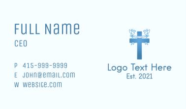Blue Religious Cross  Business Card