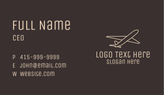 White Plane Outline Business Card
