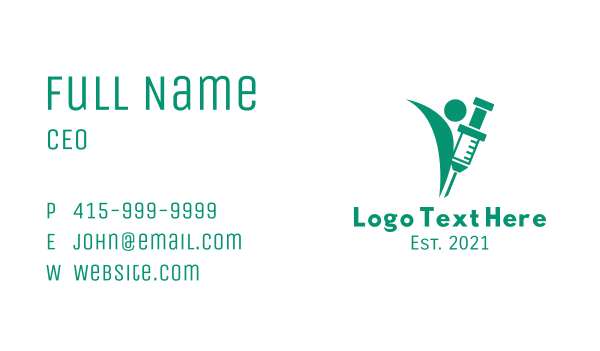 drugs - Green Medical Vaccine  Business card horizontal design