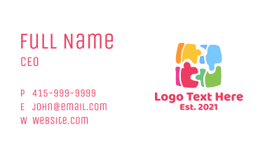 Multicolor Preschool Puzzle  Business Card