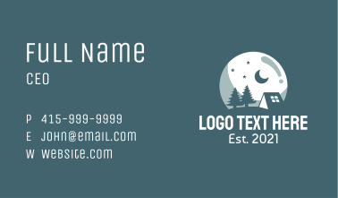 Night Camping Site Business Card