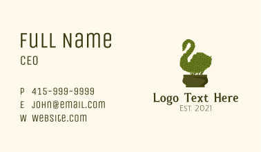 Swan Topiary Plant Business Card
