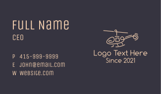 Minimalist Helicopter Business Card