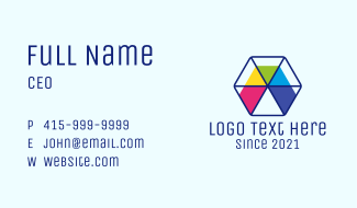 Colorful Sliced Hexagon Business Card