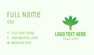Gradient Cannabis Leaf Business Card