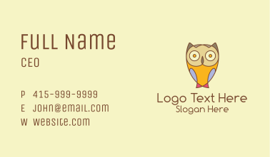 Colorful Owl Cartoon  Business Card
