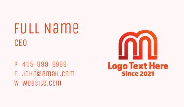 Pillar Arch Letter M Business Card