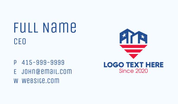 stars and stripes - USA Patriotic City Building Business card horizontal design