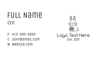 Black Easter Bunny Monoline Business Card