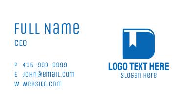 Blue Book Letter D  Business Card