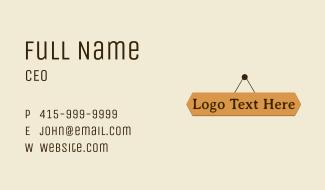 Hanging Wood Wordmark Business Card