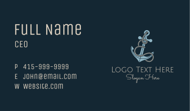 Anchor Rope Letter E Business Card